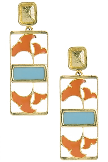 Gold Plated Turquoise and Orange Enamel Floral Earrings by The Bohemian