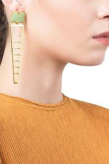 Gold Plated Green Enamel Stripes Earrings by The Bohemian