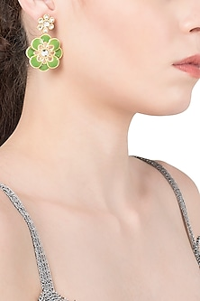 Gold Plated Green Enamel Layered Flower Earrings by The Bohemian