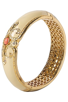 Off White and Pink Vintage Detailed Bangle by The Bohemian