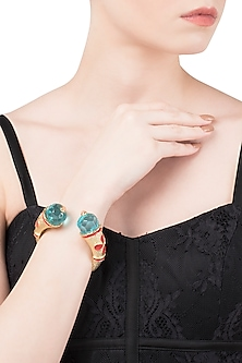 Aqua Blue and Red Cathedral Open Bangle by The Bohemian