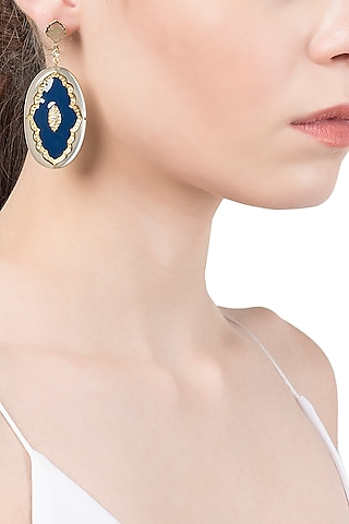 Shades Of Blue Scroll Lines Earrings by The Bohemian