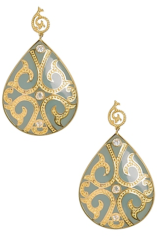 Seafoam and Gold Fat Filigree Earrings by The Bohemian