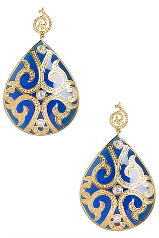 Royal Blue and Gold Fat Filigree Earrings by The Bohemian