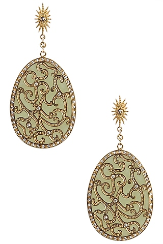 Pista Green and Gold Flat Filigree Earrings by The Bohemian