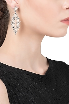 Rhodium Plated Abstract Pearl Dangler Earrings by The Bohemian