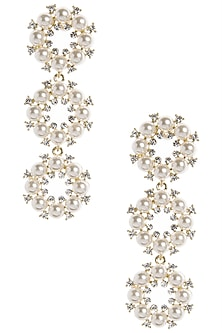 Gold Plated Tiered Pearl Dangler Earrings by The Bohemian
