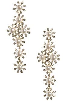Gold Plated Cross Pearl Dangler Earrings by The Bohemian