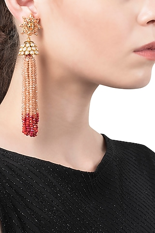 White and Coral Tassel Earrings by The Bohemian