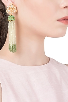 White and Green Tassel Earrings by The Bohemian