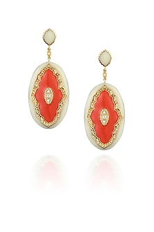 Ivory and coral victoria enamel earrings by The Bohemian