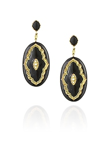 Pewter and black victoria enamel earrings by The Bohemian