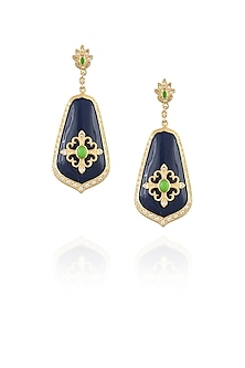 Navy blue chantilly vintage earrings by The Bohemian