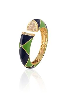Gold Plated Green And Blue Pyramid Enamel Bracelet by The Bohemian