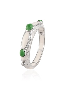Ivory Resin Classic Three Green Stones Bangle by The Bohemian
