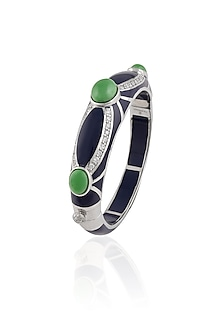 Blue Resin Classic Three Green Stones Bangle by The Bohemian