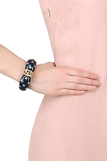 Gold Plated Blue Resin Confetti Pattern Bracelet by The Bohemian