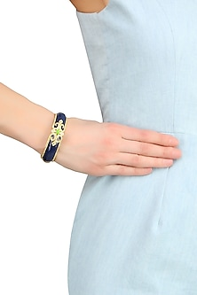 Gold Plated Navy Blue Enamel Chantilly Vintage Bangle by The Bohemian