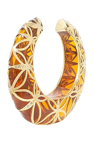 Gold Plated Transparent Red Cuff by The Bohemian