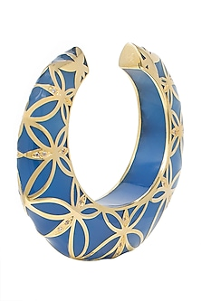 Gold Plated Blue Cuff by The Bohemian