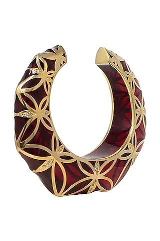 Gold Plated Amber Cuff by The Bohemian