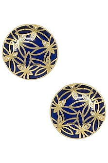 Gold Plated Blue Butterfly Stud Earrings by The Bohemian