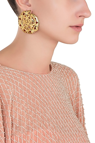 Gold Plated Red Stud Earrings by The Bohemian
