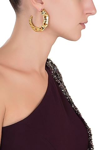Gold Plated Amber Hoop Earrings by The Bohemian