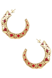 Gold Plated Red Hoop Earrings by The Bohemian