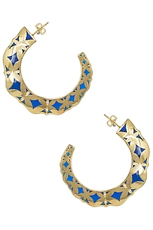Gold Plated Blue Hoop Earrings by The Bohemian