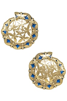 Gold Plated Blue Stud Earrings by The Bohemian