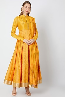 Yellow Block Printed Anarkali With Dupatta by Rohit Bal-Shop By Style