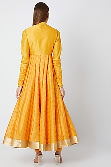Yellow Block Printed Anarkali With Dupatta by Rohit Bal
