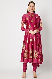 Pink Block Printed Anarkali Set by Rohit Bal