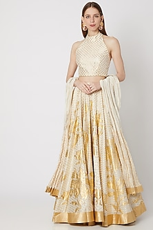 Ivory Printed Lehenga Set by Rohit Bal