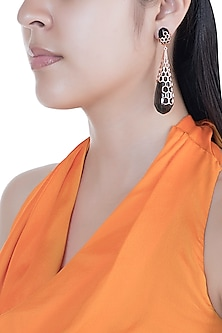 Rose Gold Finish Handcrafted Resin Long Drop Earrings by Bansri