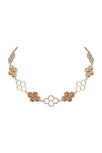 Gold Finish Handcrafted Resin Choker Necklace by Bansri