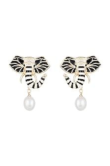 Gold Finish Enameled Elephant Pearl Drop Earrings by Bansri