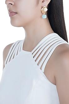Matte Gold Finish Aquamarine Stone Drop Earrings by Bansri