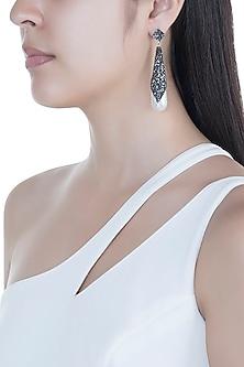Black Rhodium Finish Encrusted Crystal & Pearl Drop Earrings by Bansri