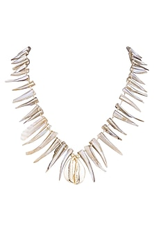 Gold Finish Cowrie Seashell Necklace by Bansri