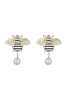 Gold Finish Enamelled Honey Bee Pearl Drop Earrings by Bansri