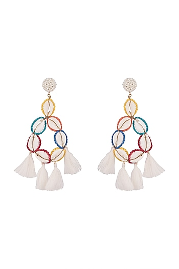 Gold Finish Shell & Bead Earrings by Bansri