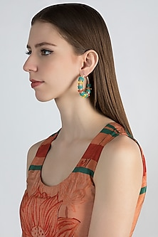 Nalki Bead & Silk Thread Hoop Earrings by Bansri