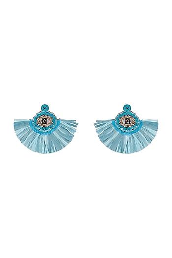 Blue Beaded Tassel Long Earrings by Bansri