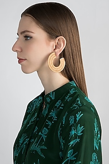 Gold Finish Statement Earrings by Bansri
