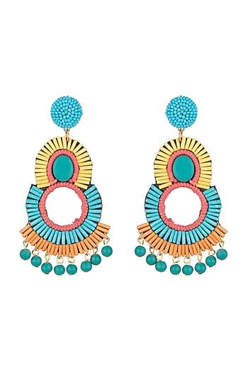 Gold Finish Beaded Earrings by Bansri