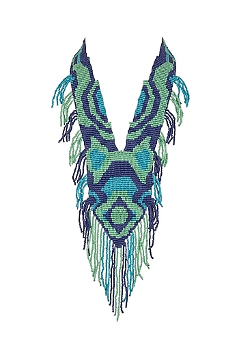Blue Two-Toned Beaded Necklace by Bansri