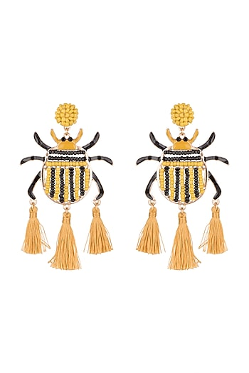 Gold Plated Tassel Earrings by Bansri