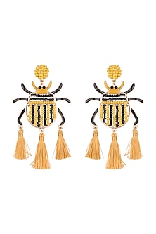 Gold Plated Tassel Earrings by Bansri